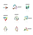 Set of linear arrow abstract logos connected vector image