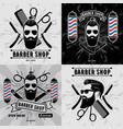 set vintage barber shop logos or badges vector image