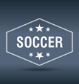 soccer hexagonal white vintage retro style label vector image vector image
