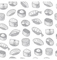 sushi set pattern asian food japanese cooking vector image
