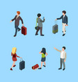 travellers isometric family couples with luggage vector image