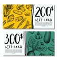 vegan cafe gift card set vector image vector image