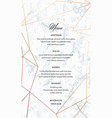 wedding menu template card of geometric design vector image vector image