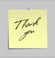 yellow sticky note with thank you message vector image