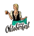 Young sexy Oktoberfest woman wearing a traditional vector image vector image