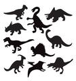 dino animal dinosaur silhouette vector image