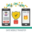 Safe mobile money transfering vector image