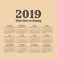 2019 year vintage calendar weeks start on sunday vector image vector image