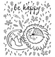 be happy cute lion cartoon vector image vector image