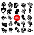 Beautiful women silhouette Girls collection vector image
