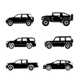Black silhouette cars on white background vector image vector image