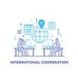 businessmen negotiate online international deal vector image