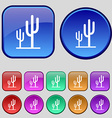 Cactus icon sign A set of twelve vintage buttons vector image vector image