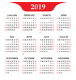 calendar 2019 year on a white background week vector image vector image