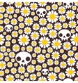 Camomile and skull seamless pattern vector image