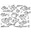 cartoon collection set hand drawn cute fish vector image