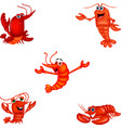 cartoon crustacean collection set vector image vector image