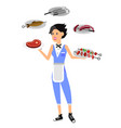 character girl on picnic or bbq party chef vector image