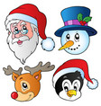 christmas faces collection 3 vector image