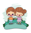 color picture couple kawaii wink girl collected vector image vector image