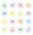 colorful flat icon set 7 with circle frame vector image vector image