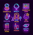 cosmetics neon label set vector image vector image