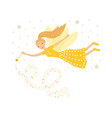 cute yellow fairy in flight with a magic wand vector image vector image