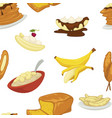 desserts types banana and bread bakery pattern vector image vector image