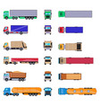 different cargo truck with container big trailer vector image vector image
