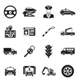 Driver Black White Icons Set vector image