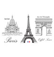 eiffel tower triumphal arch and sacre coeur vector image