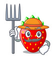 farmer character strawberry sweet in store fruit vector image