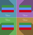 Flags Dagestan Set of colors flat design and long vector image vector image