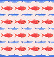 funny fish seamless pattern sea food marine life vector image vector image
