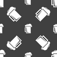 glass of beer icon sign Seamless pattern on a gray vector image vector image