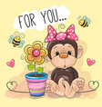 greeting card cute cartoon monkey with flower vector image vector image