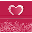 Greeting card with paper heart vector image