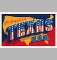 greetings from texas usa retro postcard vector image