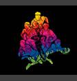 group rugplayers action cartoon sport vector image