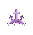 halloween cemetery crosses icon thin line art vector image