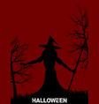 halloween witch with hat on red background vector image vector image