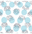 hand drawn lilies outline and blue circles pattern vector image