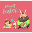 Happy father with daughter celebrating Easter vector image vector image