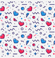 hearts seamless pattern in memphis style vector image