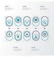 internet icons colored set with letter dialogue vector image vector image