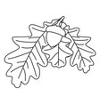 line art black and white oak branch vector image