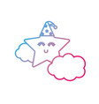 line cute star with cloud in the sky design vector image vector image