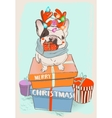 little cute cristmas bulldog vector image