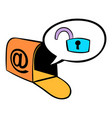 mailbox with padlock icon cartoon vector image