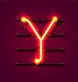 neon font letter y art design signboard vector image